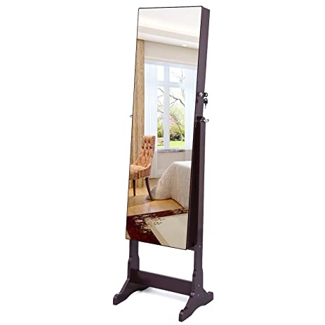 SONGMICS Lockable Jewelry Cabinet Standing Jewelry Armoire LED Lit Full  Length Cheval Mirror Brown UJJC96K
