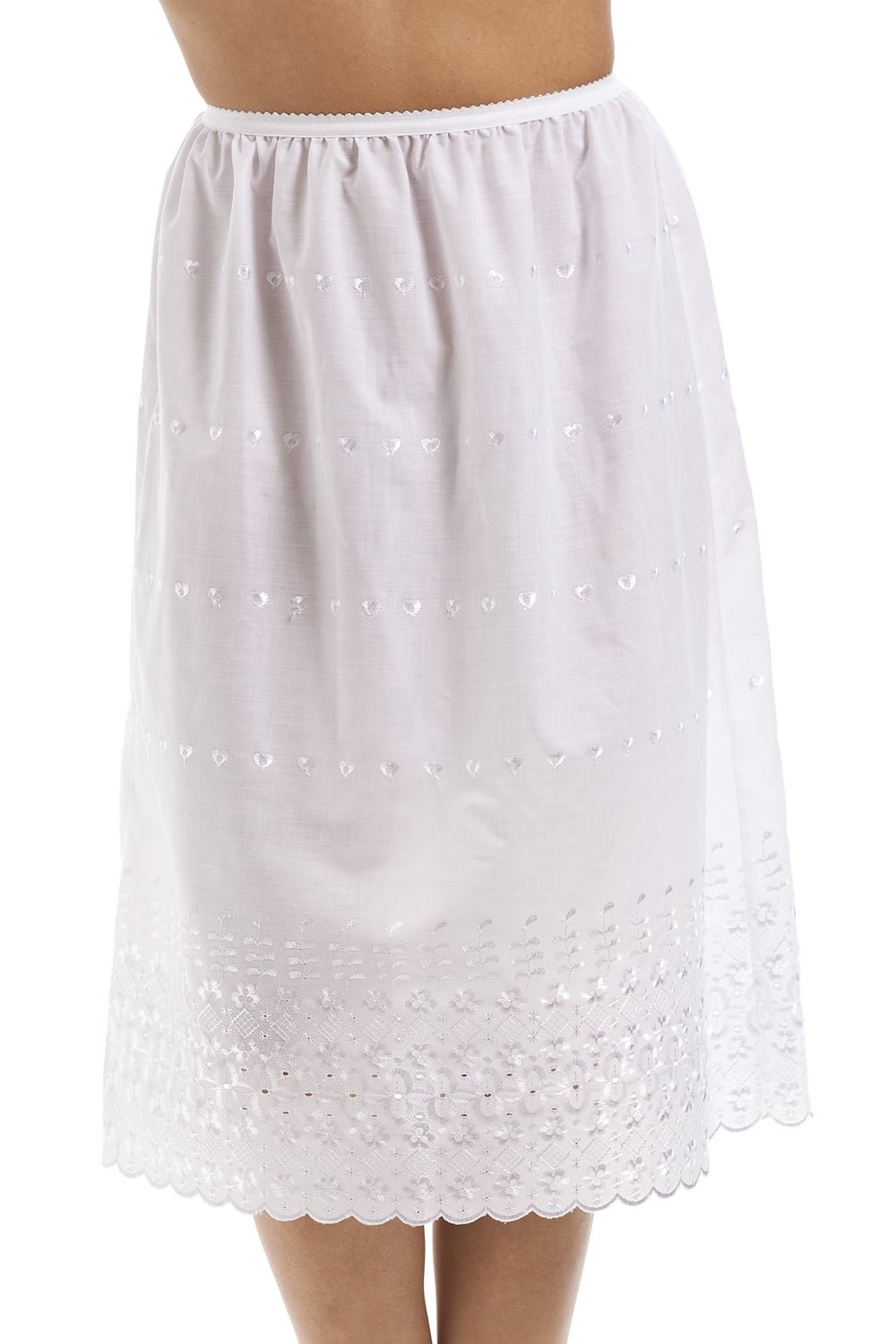 Camille Womens Classic White Embroidered 26'' Half Length Lace Trim Under Skirt Slip
