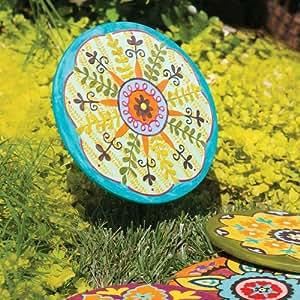 Turquoise Circle Medallion Garden Stone