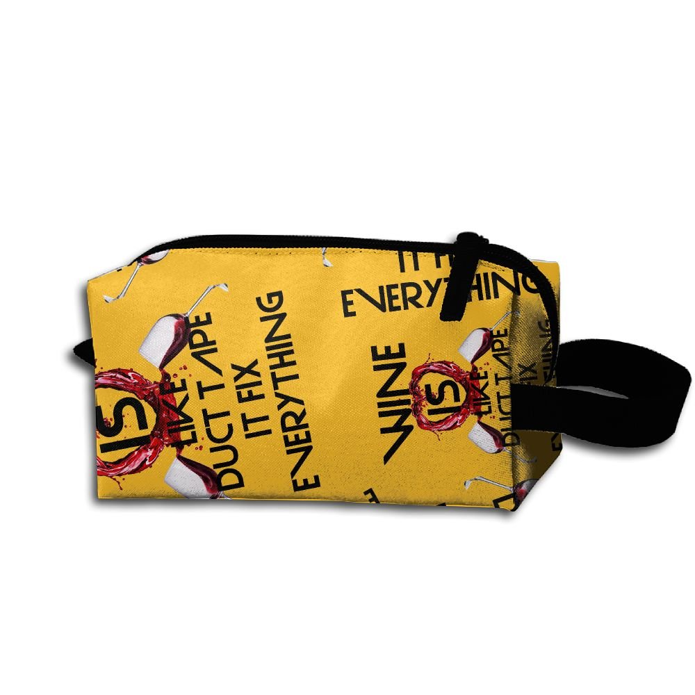 Wine Is Like Duct Tape It Fix Everything Gift Womens Colorful Handbag Waterproof Make-up Bag