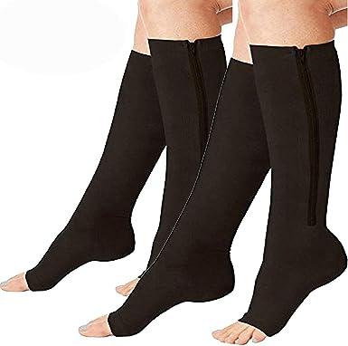 Topwon Zipper Compression Socks Toe Open Leg Support Stocking Knee High Socks L//XL 2 Pairs