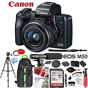 Canon EOS M50 Mirrorless Camera with 4K Video and EF-M 15-45mm Lens Kit (Black) Deluxe 32GB Triple Battery Bundle with Shotgun Mic, Backpack, Tripod and More