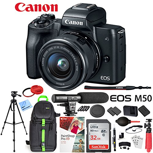 Canon EOS M50 Mirrorless Digital Camera Black with EF-M 15-45mm is STM Lens Bundle with 32GB Memory Card, Dual Battery, Shotgun Microphone, Backpack, Tripod and Accessories (12 Items)
