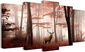 Visual Art Decor 5 Pieces Landscape Canvas Wall Art Deer in Misty Red Trees Forest Picture Animals Elk Prints Gallery Wrap Decoration for Modern Living Room Home Art (L-60xH-32)
