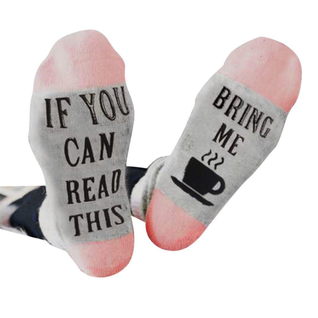 Funny Socks, Women Men White Mesh Letter Print Short Bring Me Coffee Funny Socks GreatTry
