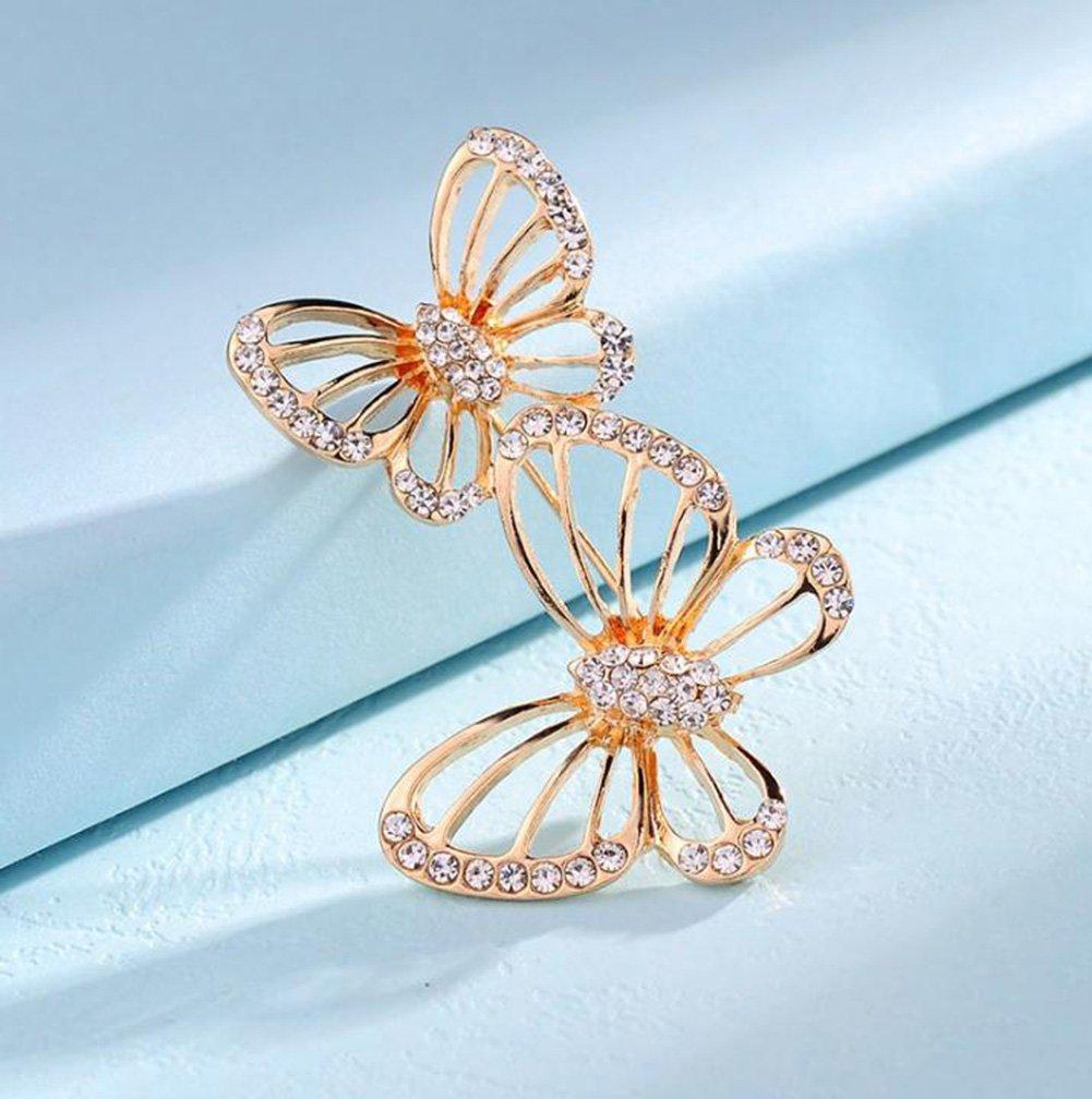 Youkara Broche Mariposa Doble de Cristal Hueco para Ropa Accesorios Para Traje Jersey Sombrero y Bufanda para Banquete de Boda