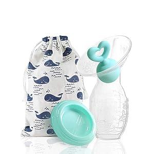 Silicone Manual Breast Pump 90ml/4oz Collect & Cherish Breast Milk for Newborn Enjoy Breastfeeding Journey (Green)