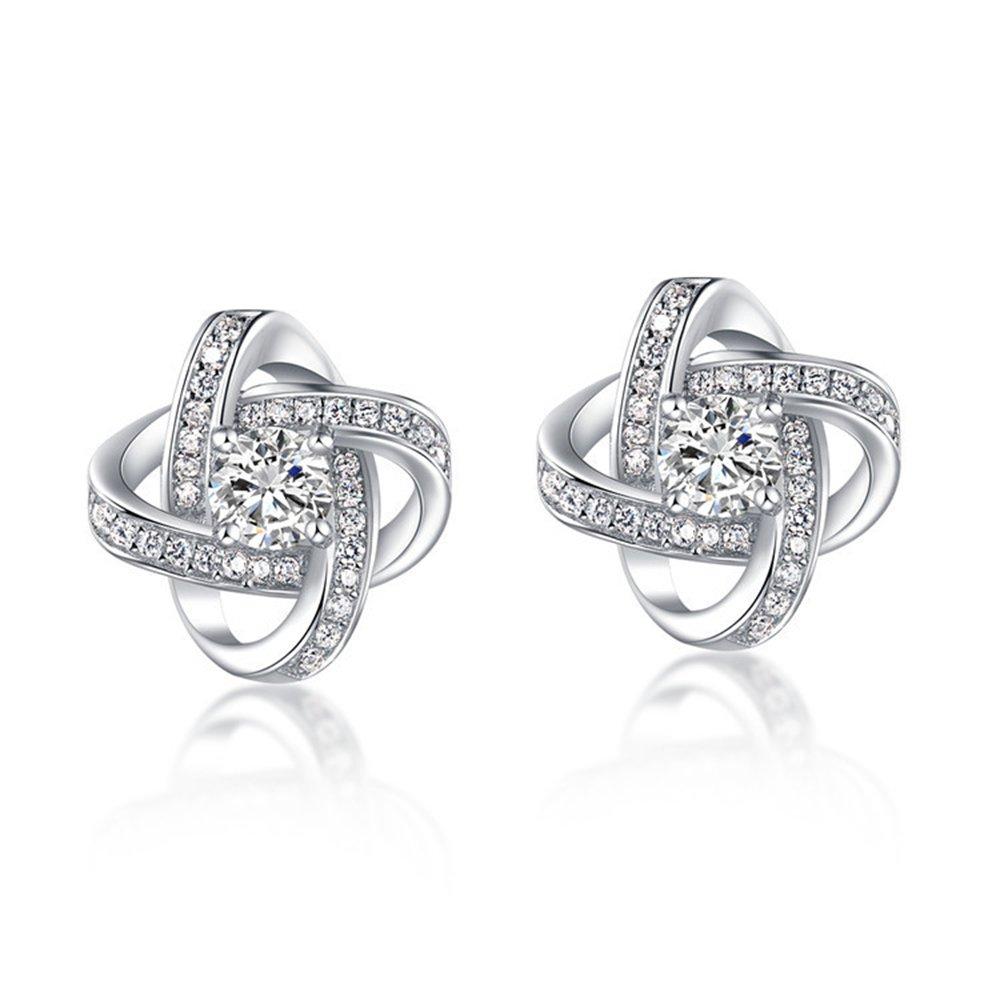 ''Forever Love''Womens Stud Earrings Cubic Zirconia 18k Gold Plated CZ Earring Studs Wedding Jewellery