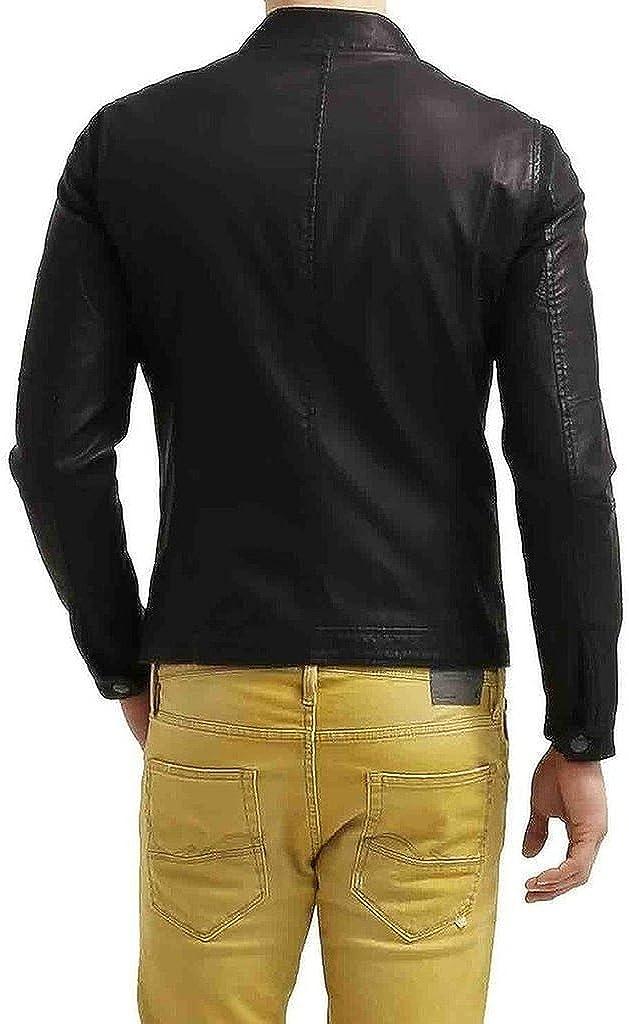 Mens Napa Real Leather Jacket Winter Fashion Coat A848