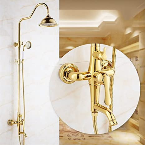 QINLEI Oro Europeo de baños, Ducha, grifo de agua, montado en la pared