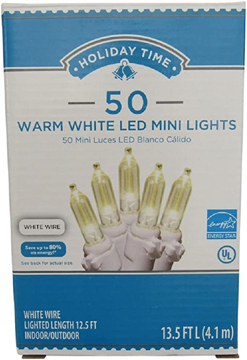 NEW Holiday Time 50 CT BLUE LED Mini Lights on White Wire 13.5 FT L Halloween