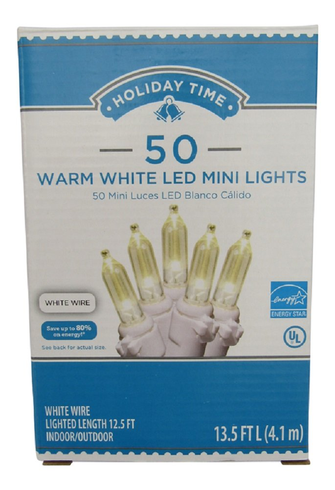 Amazon.com : Holiday Time 50 Warm White LED Mini Lights, White Wire ...
