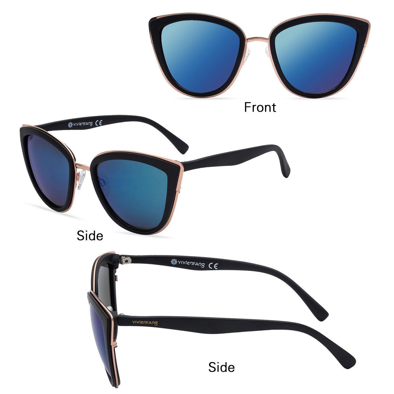 Amazon.com: VIVIENFANG P1891 Gafas de sol con efecto espejo ...