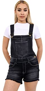 452ce67157a2 Red Olives Women s Ladies Denim Style Pinafore Dungaree Girls Shorts Dress  Jumpsuit UK Size 8 10