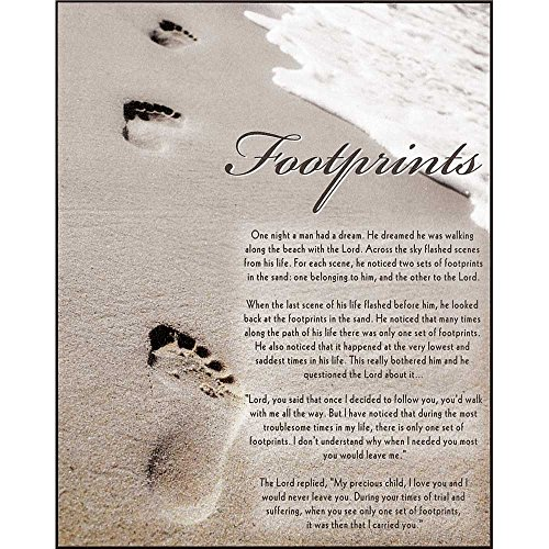 Dicksons Footprints Sentimental Poem Sandy Beach With Waves 8 x 10 Wood Wall Sign Plaque