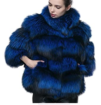 996ddc17a18b Image Unavailable. Image not available for. Color  Women s New Royal Blue  Fox Fur Jacket ...