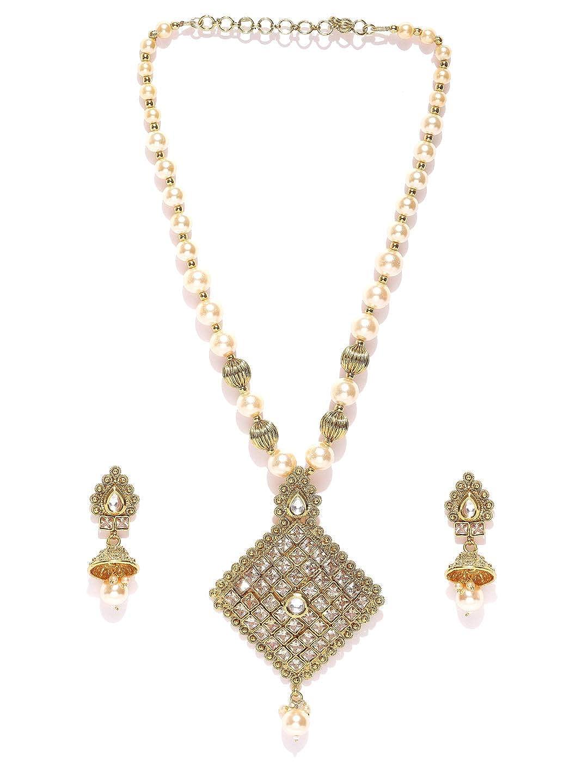 Buy Priyaasi Designer Kundan Studded And Pearls Chain Gold Plated