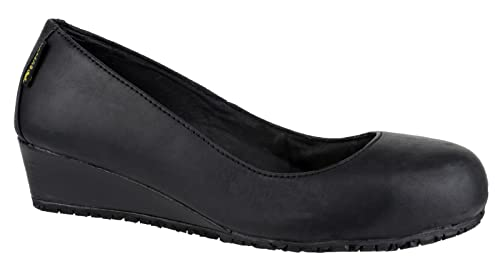 Ladies New Leather Wedge with Steel Safety Toe Cap and Antibacterial  Cushioned Insole and Memory Foam