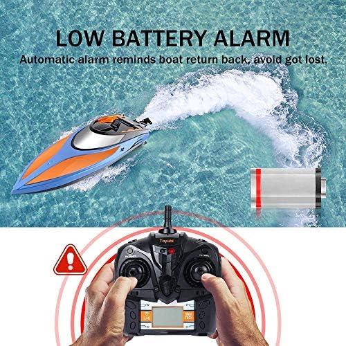 20MPH + Bonus Batterie T/él/écommande Bateau Radiocommand/és Jouet pour Piscines et Lacs 2,4 GHz RC Racing Bateaux pour Adultes et Enfants E T RC Bateau Jouets de Piscine Haute Vitesse Batterie