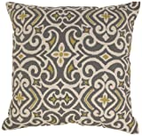 Pillow Perfect Gray/Greenish-Yellow Damask 24.5-Inch Floor Pillow