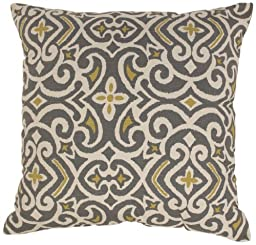 Pillow Perfect Gray/Greenish-Yellow Damask 24.5-Inch Floor Pillow