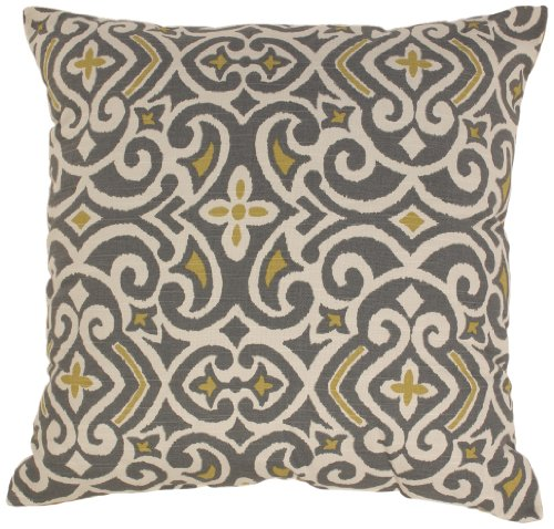 Pillow Perfect Gray/Greenish-Yellow Damask 24.5-Inch Floor Pillow by Pillow Perfect
