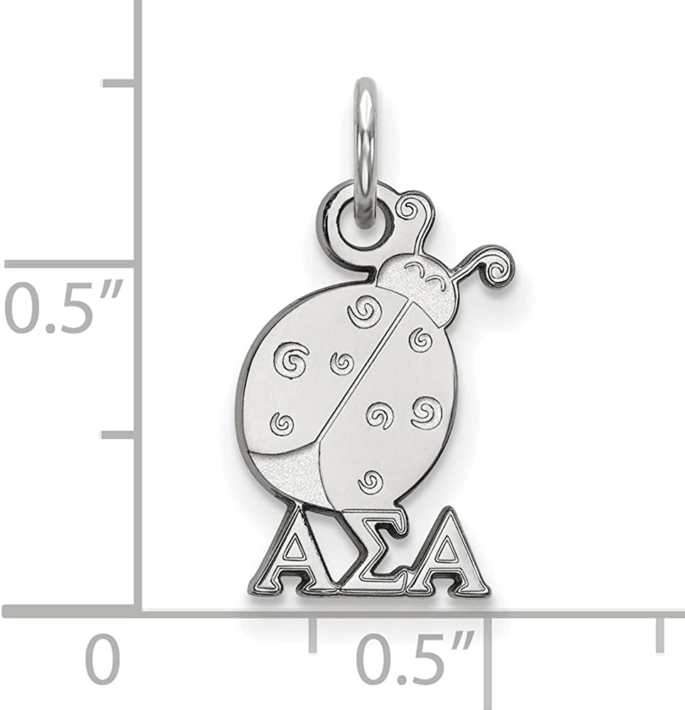 White Sterling Silver Charm Pendant Greek Alpha Sigma 18 mm 10