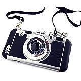 立体カメラ型 iPhoneケース iphone6 iPhone6s iPhone6Plus ネックストラップ付 (iphone6/iPhone6s, ブラック)
