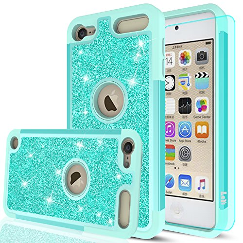 iPod Touch 6 Case, iPod Touch 5 Case with HD Screen Protector,LeYi Glitter Bling Girls Wome Dual Layer Heavy Duty Protective Phone Case for Apple iPod Touch 6th / 5th Generation TP Mint