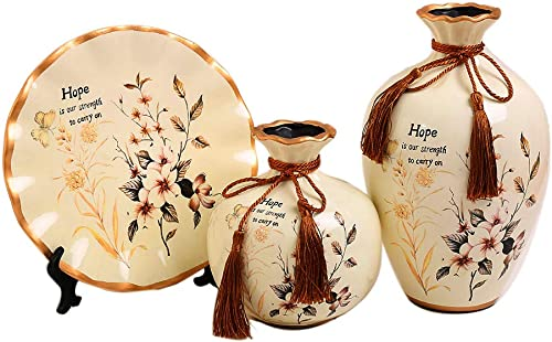 Anding Ceramic White Bottles 3 Sets of Ceramic Vases, Chinese Vase Home Decoration, Modern Vase Set LY2045BAILAN Good Hope