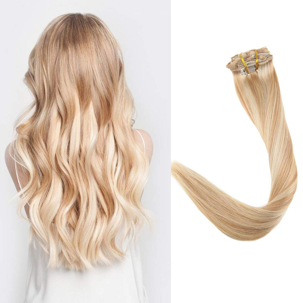 Full Shine 16 inch 100g Per Package Piano Color  24 Light Blonde Mix Color   27 Honey Blonde Clip in Real Hair Extensions 100% Real Human Hair Double  Weft ... 467909a90f98