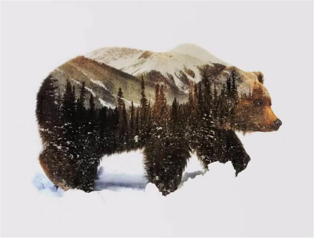 """SONBY Paint by Numbers Kits for Adult Kids,Snow Bear Mountain Painting by Number for Home Wall Decor,16""""x20"""" Unmounted"""