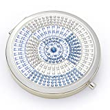 Jinvun Compact Purse Mirror   Round 2 Sided  Clear Reflection With Magnification   Freshen Up Makeup & Eliminate Mishaps (Blue)