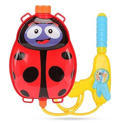 Pequeña Mochila Pistola de Agua para Niños Juguete de Tirador de Agua de Mochila de Forma Animal Piscina y Playa (Red Ladybug)