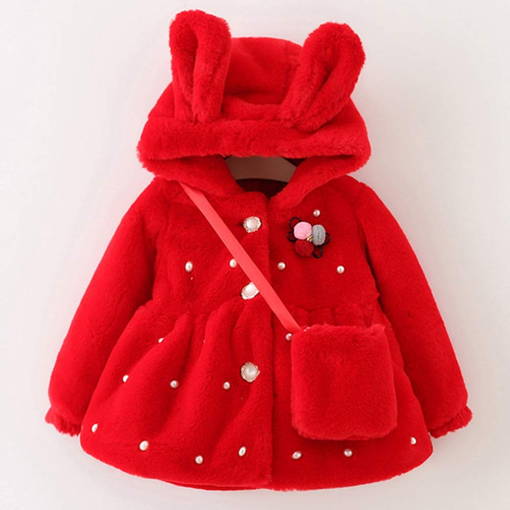 Guy Eugendssg Outwear Coats Winter New with Bag Thickening Baby Cotton Coat Cute Rabbit Ears Hooded