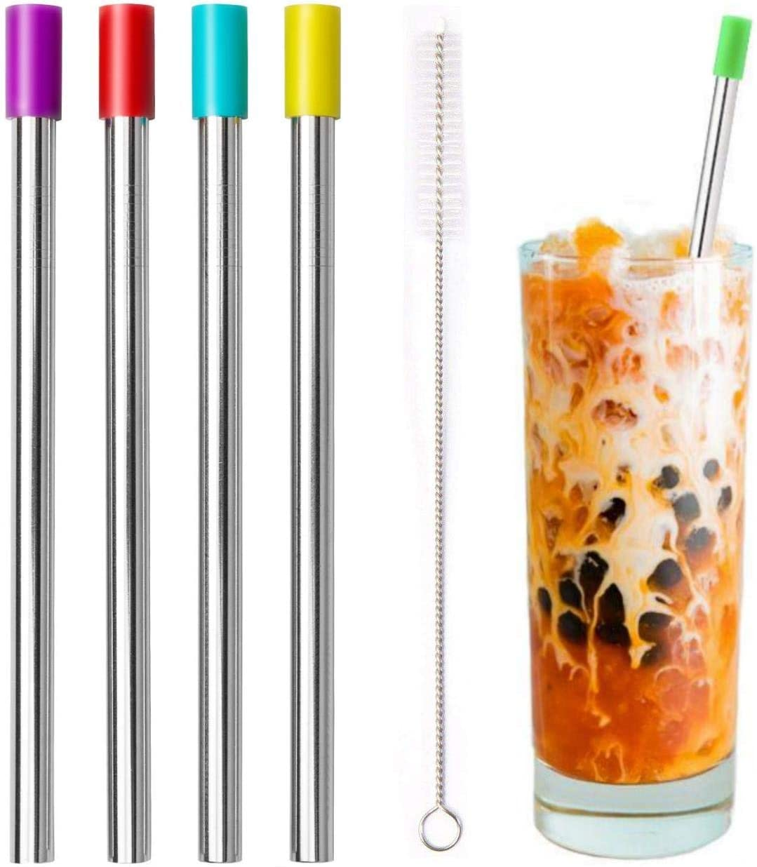 Cocktail Drinking Filter Stick Metal Stainless Steel Tea Spoons Scoop Straw B7U4