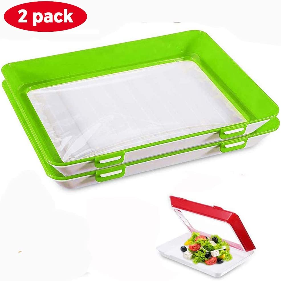 Emoly Food Preservation Tray, 2 Pack Stackable BPA Free Plastic Food Storage Container with Elastic Reusable Locking Lid for Refrigerator and Freezer Flat Food (Green)