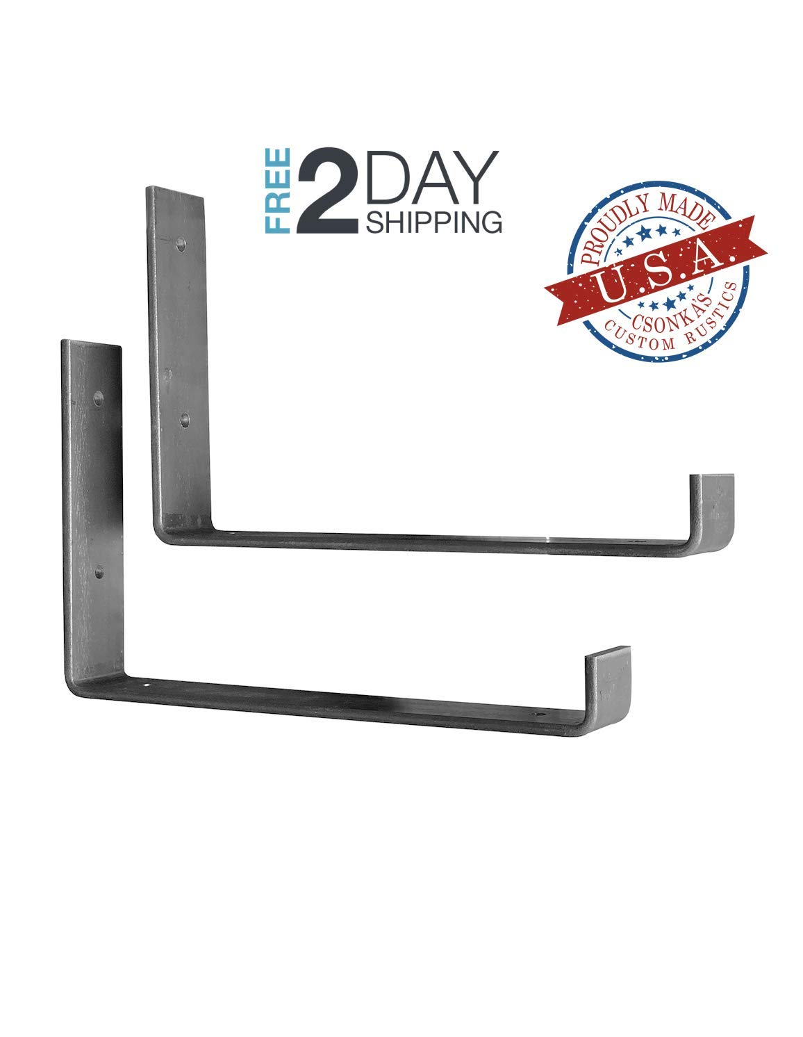 "2 Pack - 11.25""L x 6""H Hook Brackets, Hook Iron Shelf Brackets, J Bracket, Metal Shelf Bracket, Industrial Shelf Bracket, Modern Shelf Bracket 61TMws-j96L"