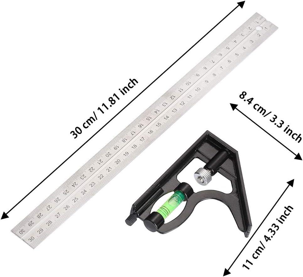 Siumir /Équerre Combin/ée 300 mm Acier Inoxydable R/ègle dangle de Combinaison Combinaison Carr/ée Outils de Mesure