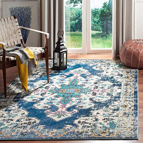 Safavieh MAD452M-4 Madison Collection MAD452M Navy and Grey Area 4' x 6' Rug