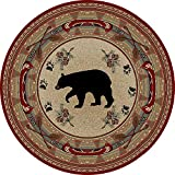 Cheap Dean Black and Red Bear Lodge Cabin Bear Carpet Area Rug Size: 5'3″ Round