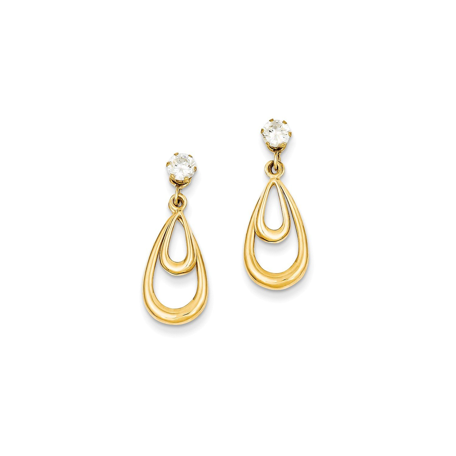Roy Rose Jewelry 14K Yellow Gold Yellow Gold Polished w/CZ Stud Earring Jackets by Roy Rose Jewelry