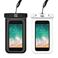 """YOSH Waterproof Phone Pouch Universal Waterproof Phone Case Cell Phone Dry Bag Pouch Compatible with iPhone X/8/7/6/6S Plus 5S/5C Galaxy S9/S8/S7 Edge Note 5/4 Google Pixel 2 up to 6.0"""" (Black,White)"""