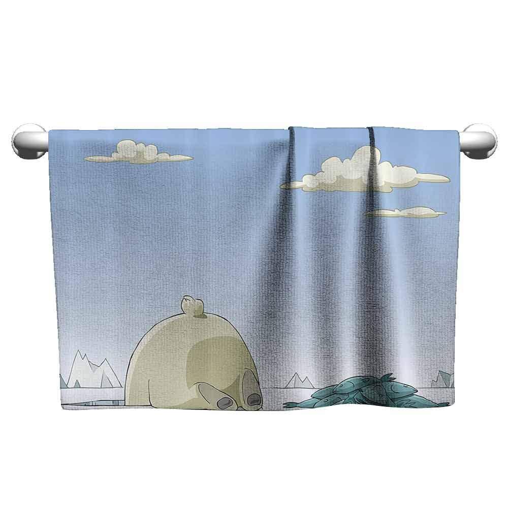Sports Towel Cartoon Polar Bear Catches Fish in The Ice Hole Arctic Frozen Land Fun Animal Kids Design Bath Towel 63 x 31 inch Blue Beige