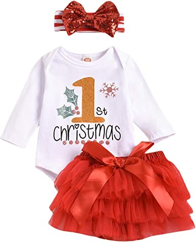 UK Newborn Baby Girls My 1st Christmas Rompers Jumpsuit Clothes Playsuit Outfits