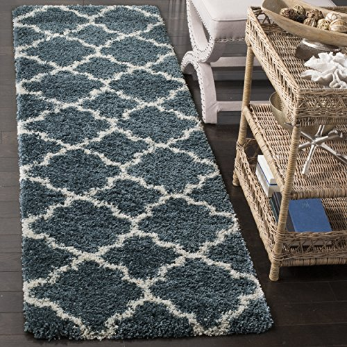Slate Blue Rectangular Rug - Safavieh Hudson Shag Collection SGH282L Slate Blue and Ivory Moroccan Geometric Quatrefoil Runner (2'3