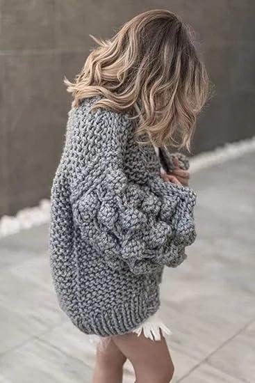 2fcda4b27490 Jerseys Lana Mujer Otoño Hipster Casual Abrigos Color Sólido Manga Larga  Tejer Arriba Top Especial Estilo Suéter Áspero Anchos Moda Joven Outwear  Cómodo ...