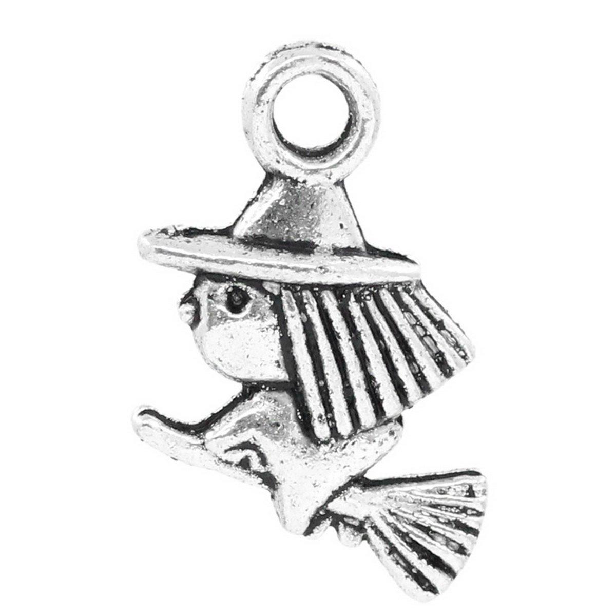 HOUSWEETY 50PCs Halloween Charm Pendants Witch & Broom Silver Tone 13x10mm(4/8x3/8) HOUSWEETYB23146