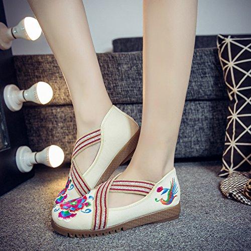 Insun Damen Ballerinas Espadrilles Blume Stickerei Slipper Flats Schuhe Beige