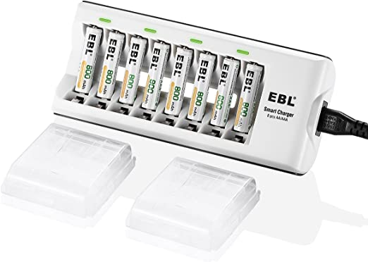 EBL AAA Rechargeable Batteries 800mAh Ni MH  8pcs  with Rapid AA AAA Battery Charger Accessories